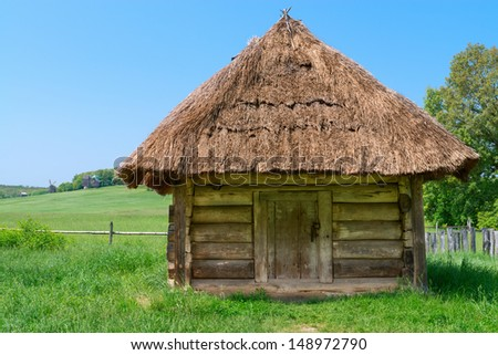 Traditional Ukrainian Rural House Straw Roof Stock Photo