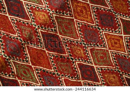 Typical Tunisian berbers' carpet style - Margoum. - stock photo