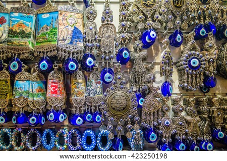 Typical Turkish blue souvenirs with eyes in the Grand Bazaar of Istanbul, Turkey - stock photo