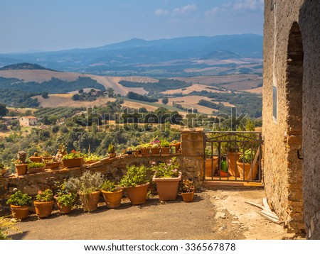 Typical Tuscan View and Balcony Gardening - stock photo