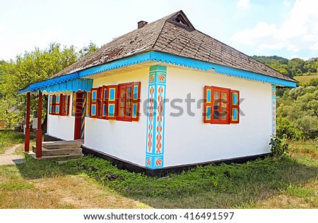 "Typical Ukrainian house at historical and Cultural Reserve ""Busha"", Vinnytsia region, Ukraine"