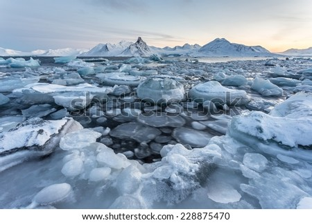 Typical unusual Arctic winter landscape - Spitsbergen - stock photo