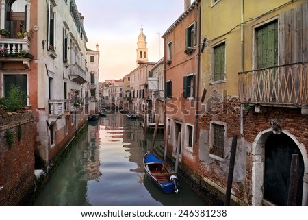 typical urban landscape of old Venice - Mistress of the Adriatic - stock photo