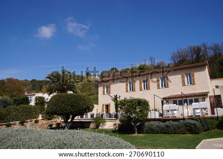 Typical vacation house in the countryside in the Southern part of France - stock photo