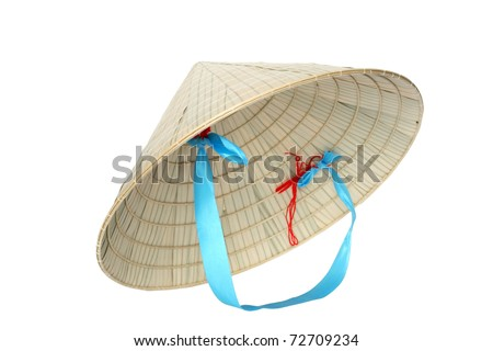Typical Vietnamese conical straw hat isolated on white background with clipping path