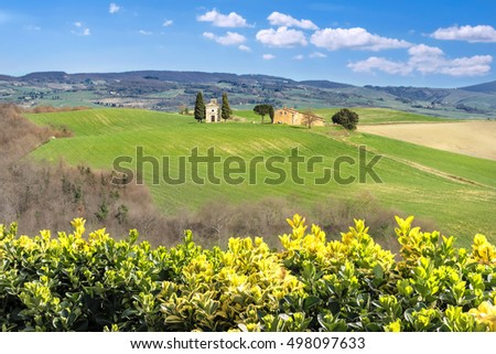 Typical view of countryside in Val d'Orcia province. Tuscany, Italy