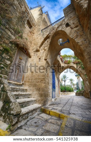 Typical view of Jaffa's narrow old alley. Jaffa is part of Tel Aviv,