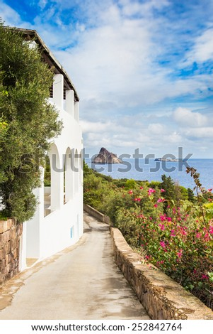 Typical view of Panarea island in aeolian islands, sicily. - stock photo