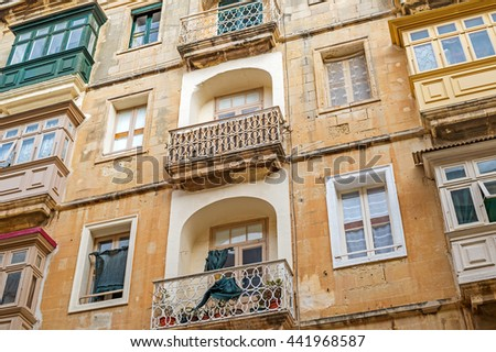 Typical view of the old houses of Valetta on the island Malta in South Europe
