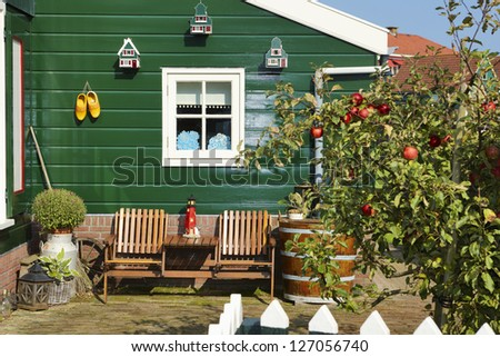 Typical village houses of Marken, the Netherlands - stock photo