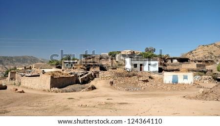 Typical village in Eritrea. - stock photo
