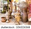 Typical vintage metal teapots in Jerusalem, Israel - stock photo