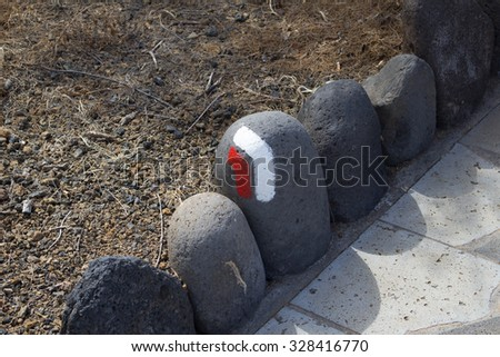 typical waymarking in los Sauces, GR GR 130, in Canary Islands, long distance foothpaths, Europe - stock photo