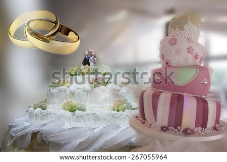 typical wedding cake with decorations and lace