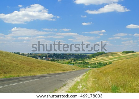 Typical west-ukrainian landscape - road between hills