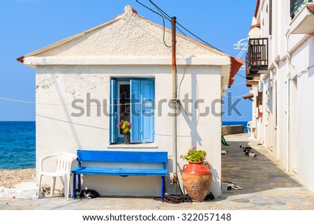 Typical white Greek house with cats sleeping in a shaded street, Kokkari town, Samos island, Greece - stock photo