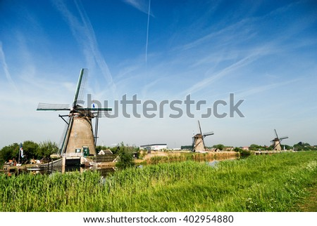 Typical windmills in Holland - stock photo