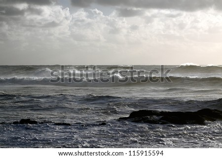 Typical winter Portuguese seascape - late evening light - stock photo