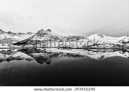 Typical winter seascape with  Reflections of snowy mountains in  Lofoten islands, Norway  - stock photo