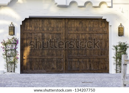 Typical wooden garage in South Florida - stock photo