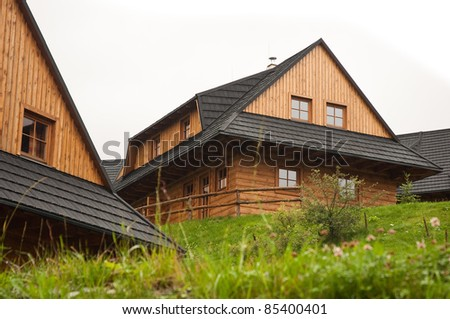 typical wooden houses of Slovak village. Photo taken in Terchova