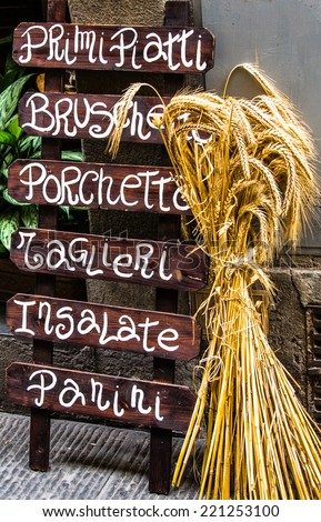 Typical wooden Italian restaurant banner with white written in Florence 01 - stock photo