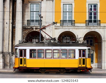 Typical yellow tram of Lisbon, Portugal
