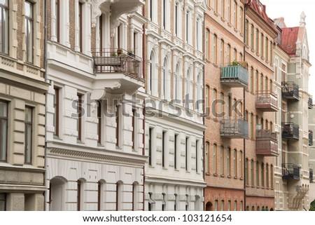 Typically Swedish architecture in Gothenburg - stock photo