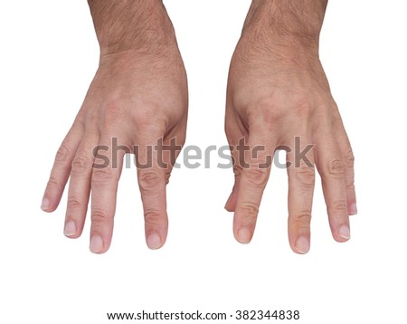Typing hands isolated on white - stock photo