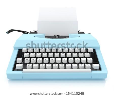 Typing Machine on White Background, Render  - stock photo