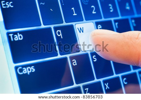 typing www on touch screen virtual keyboard