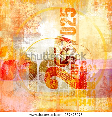 Typo Collage with grunge textured elements - stock photo
