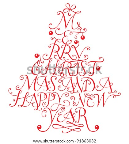 Typographic composition in shape of a christmas tree. Vector version also available in my portfolio. - stock photo