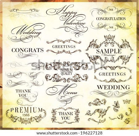 typography, calligraphic design elements, page decoration ����an be used for invitation, congratulation or website