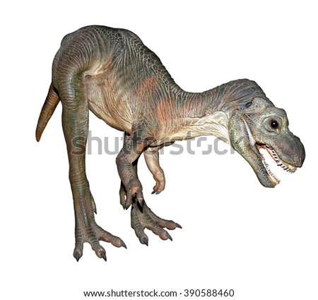 Tyrannosaur from Jurassic era isolated on a black background. Extinct dinosaur is standing with an open jaws.