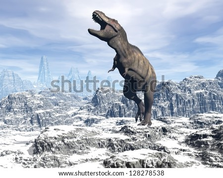 Tyrannosaurus dinosaur walking and shoutinf in snowy landscape - stock photo