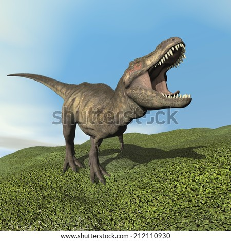 Tyrannosaurus dinosaur walking on the grass by day - 3D render - stock photo