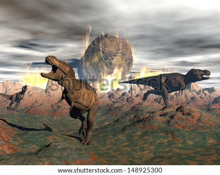 Tyrannosaurus dinosaurs escaping or dying because of heat and fire due to a big meteorite crash - stock photo
