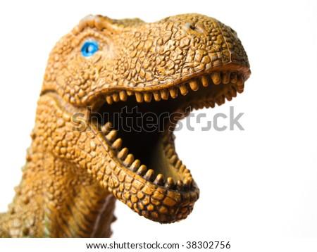 Tyrannosaurus - prehistoric era dinosaur on white - stock photo