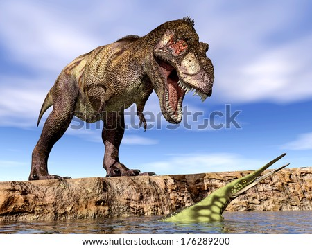 Tyrannosaurus Rex and Hupehsuchus Computer generated 3D illustration - stock photo