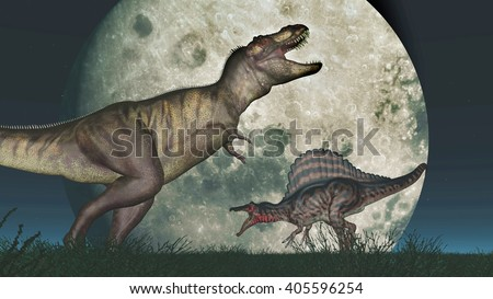 Tyrannosaurus Rex and Spinosaurus in front of the moon Computer generated 3D illustration - stock photo