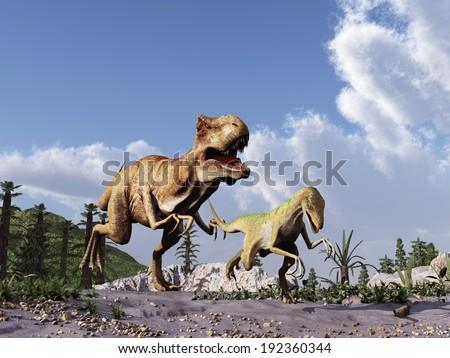 Tyrannosaurus rex chasing a velociraptor - stock photo