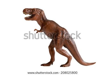 tyrannosaurus rex dinosaur plastic toy isolated on white background - stock photo