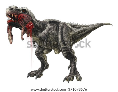 Tyrannosaurus Rex Eating Struthiomimus Colored Line Ilustración de ...