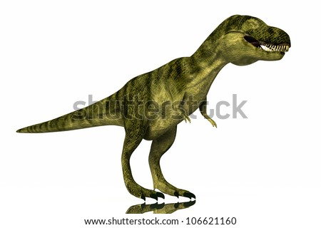 Tyrannosaurus Rex full body realistic rendered on white background