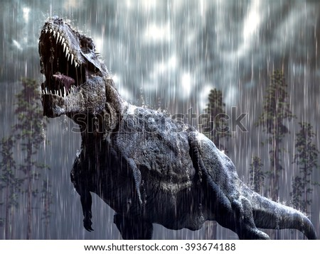 Tyrannosaurus Rex in a tropical storm. - stock photo