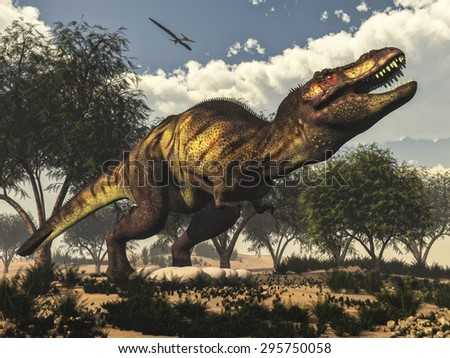Tyrannosaurus rex standing upon its eggs to protect them by day, next to tamaris trees and onychiopsis plants - 3D render - stock photo