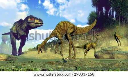 Tyrannosaurus rex surprising gallimimus dinosaurs herd by day - 3D render - stock photo