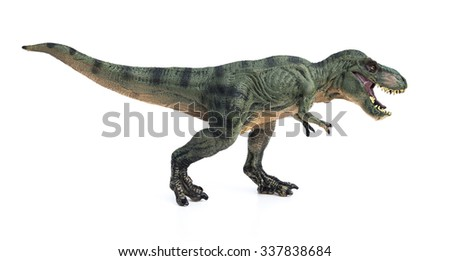 tyrannosaurus toy on a white background