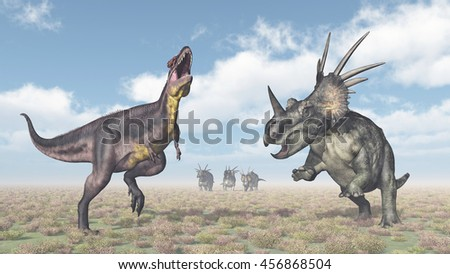 Tyrannotitan attacks Styracosaurus Computer generated 3D illustration